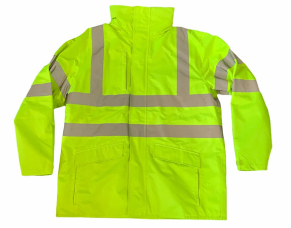 Hi Vis Waterproof Jacket With Reflective Tape Size Large Grade A OJ24