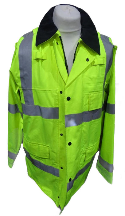 Hi Vis Waterproof Rain Traffic Coat Silver Tape Security Events HVPC09B