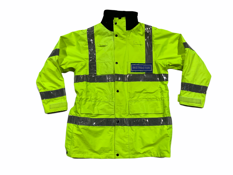 Hi Vis Instructor Badged Jacket Waterproof Rain Coat HVPC15A
