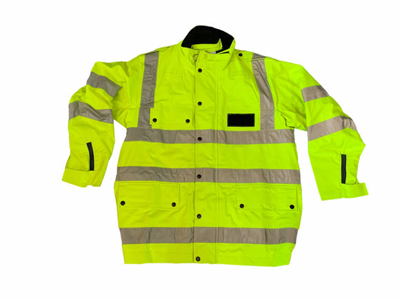 Hi Vis Waterproof & Breathable Jacket & Reflective Tape Size 112R Grade A OJ26
