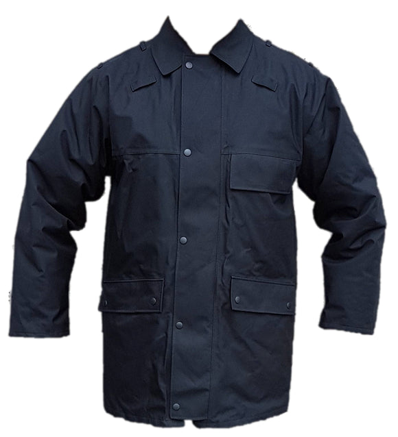 Black 3/4 Goretex Waterproof Rain Coat Security BGC03AN
