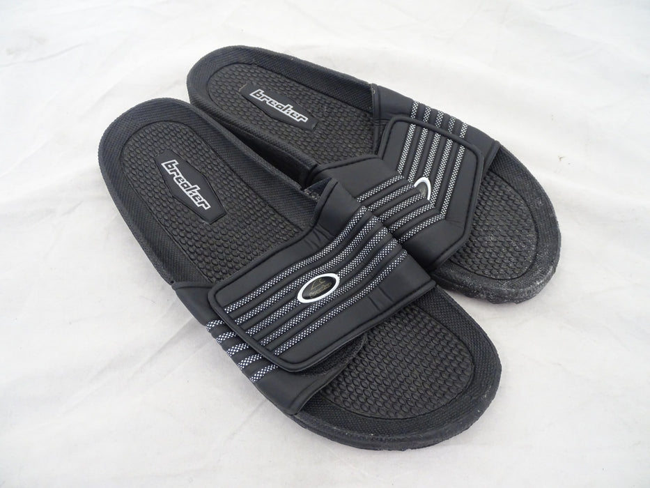 Unisex Black Breaker Sport Slides - Hook and Loop Fastening - New In Bag