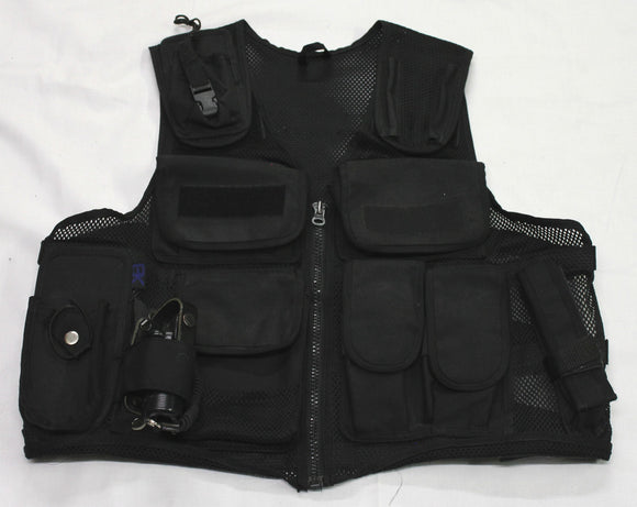 Ex Police Black Tactical Load System Tac Vest Security Dog Handler Marshal BV02