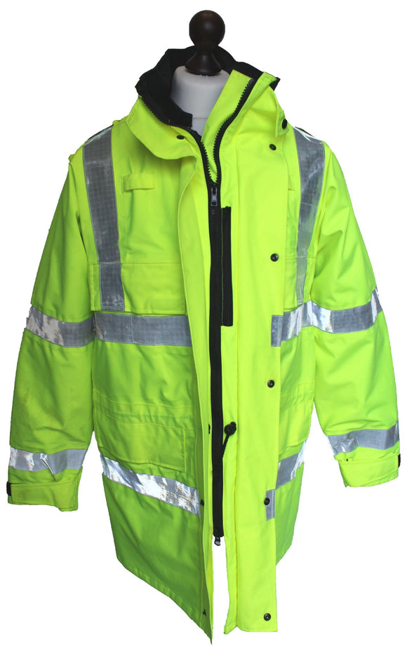 Ex Police Hi-Vis 3/4 Goretex Waterproof Rain Coat Security Marshal HVGC04B