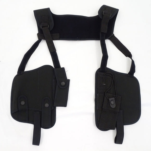 Black Covert Harness Covert Vest With Radio Cuffs Baton And CS Gas Holder CH06