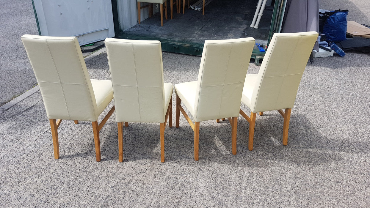 John Lewis Vanessa Leather Dining Chair Cream x 4