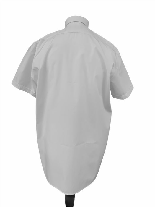 New Double Two Mens White Short Sleeve Shirt With Epaulettes Loops For Security