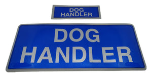 Encapsulated Reflective Dog Handler Badges Sewn On Or Hook And Loop XS & M