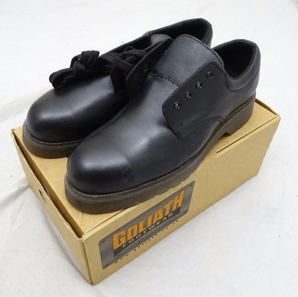 New Goliath Footwear Black Safety Shoes Steel Toe Cap Leather Work Shoes UK 7