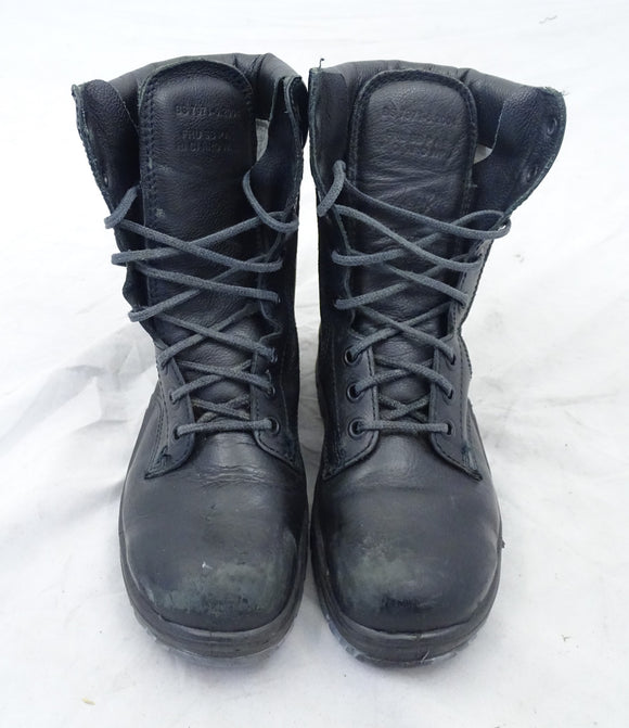 Used BATA Black Leather Steel Toe Cap Boots Tactical Military Style 1