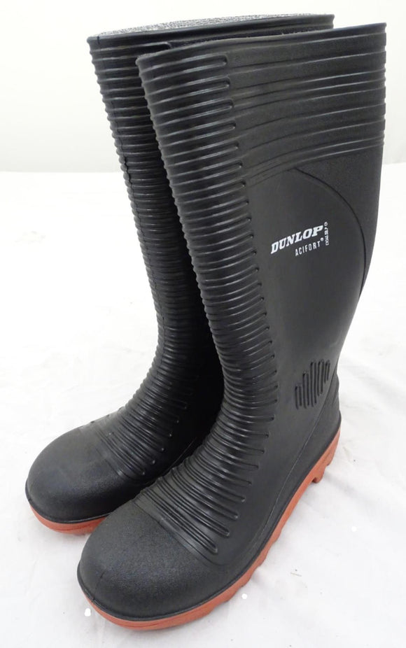 New Black Dunlop Acifort Ribbed Steel Toe Cap Wellington Boots Wellies