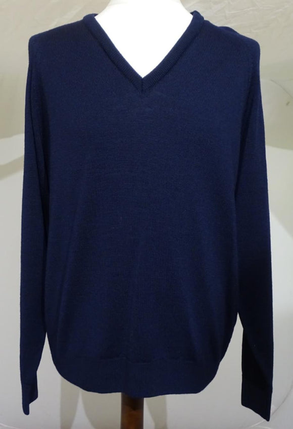 Navy Blue Gifford Fox Wool & Polyamide Pullover Jumper Security