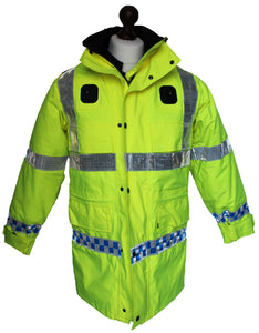 New Hi-Vis 3/4 Goretex Waterproof Rain Coat Security Marshal HVGC03N