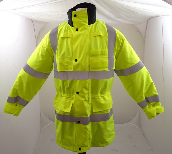 Hi-Vis 3/4 Polyester Waterproof Rain Coat Security Marshal HVGC06A