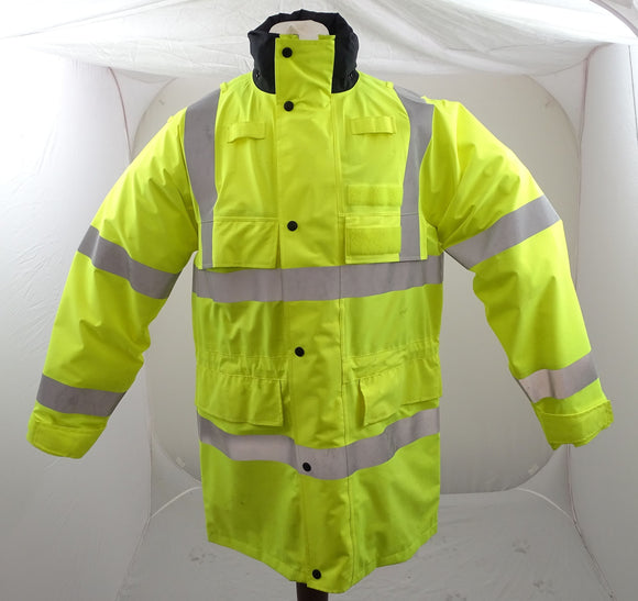 Hi-Vis 3/4 Polyester Waterproof Rain Coat Security Marshal HVGC06B