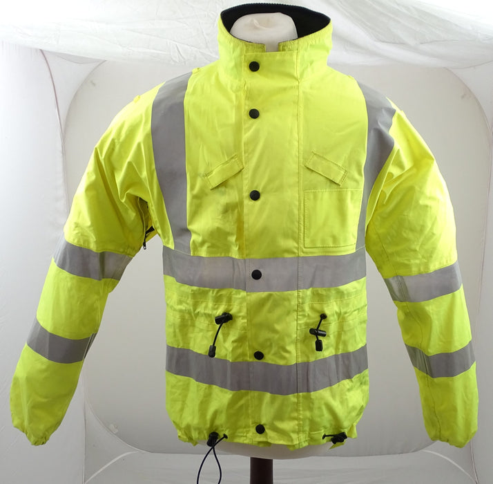Hi Vis Waterproof Cycling Jacket With Scooped Back & Reflective Tape HVCC02B