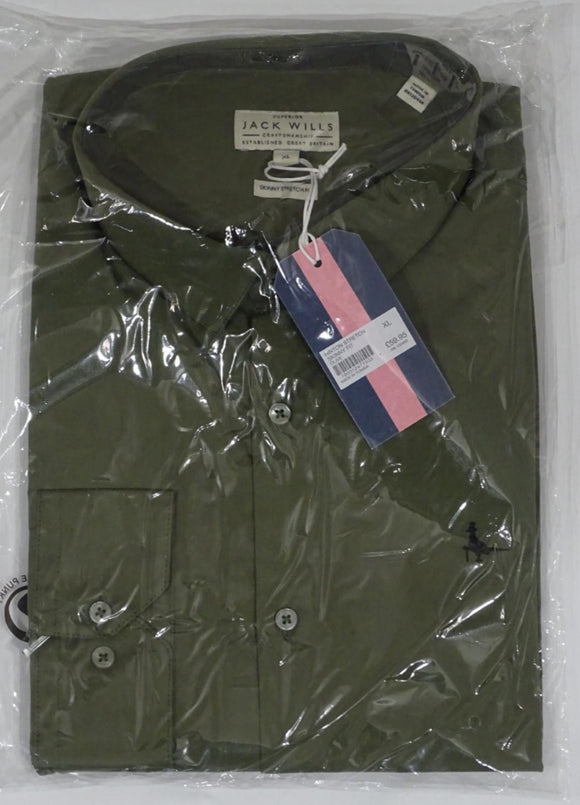 Jack Wills Hinton Stretch Skinny Fit Long Sleeve Shirt - Olive - XLarge