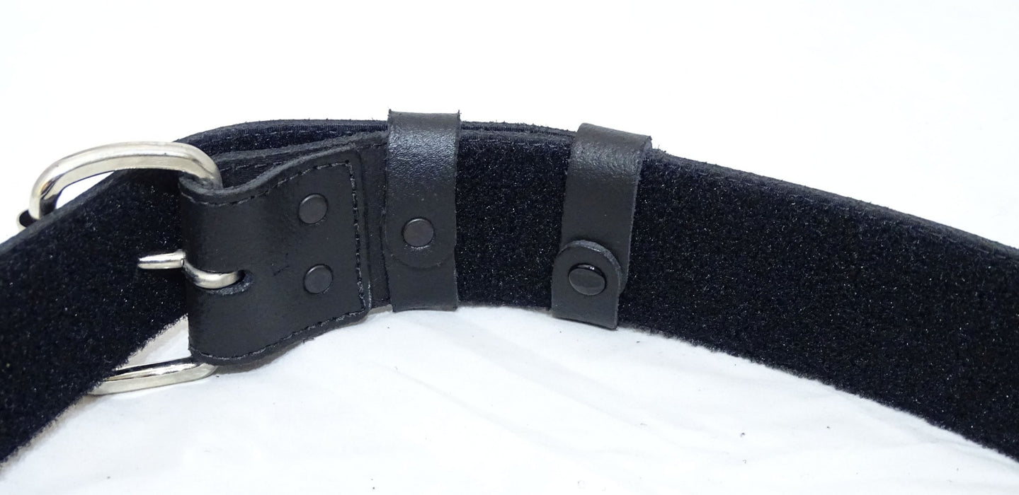 "Ex Police Black Leather 2"" Duty Belt With Hook & Loop Lining And Silver Buckle"