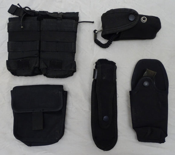 Genuine Black Nylon Molle Vest Kit with 5 Pouches Grade B - Set 1