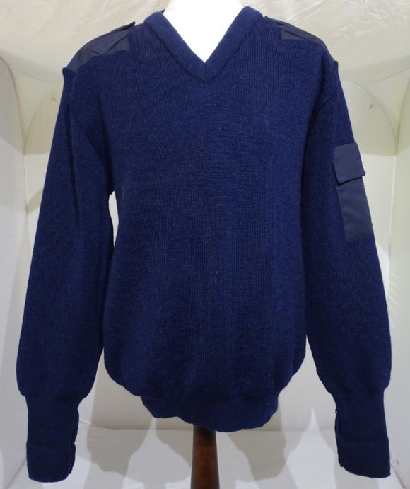 Genuine Navy Blue Nato Jumper V Neck Pullover 100% Pure Wool OJ5