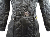 New Barbour International Female Quilted Black Coat With Hood And Belt ODDC01