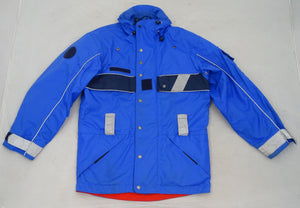 French Police Blue Waterproof Coat With Reflective Strips Chest 96cm OJ03
