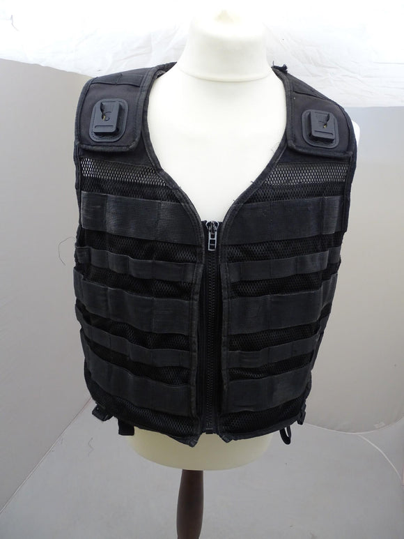 Protec Black Tactical Molle Vest plus 5 Pouches 5S Grade B Airsoft Combat