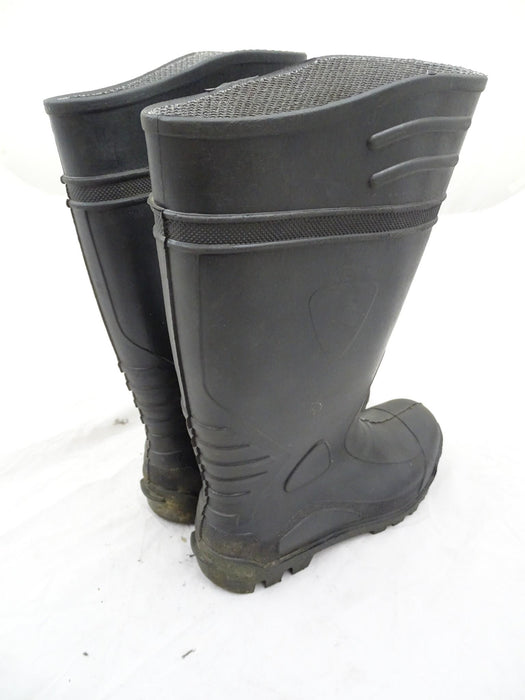 Black Silber Safety Steel Toe Cap Wellington Boots Wellies