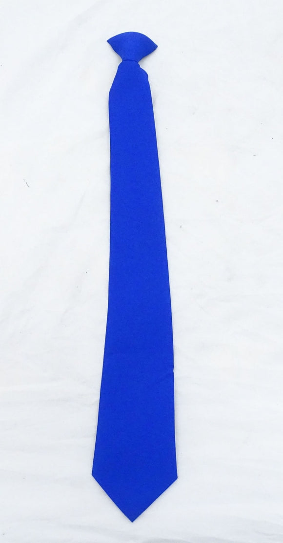 New Long Blue Clip On Tie Smart Dress Security Doorman Fancy Dress