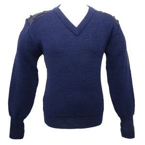 New Genuine Ex Police Navy Blue Nato Jumper V Neck Pullover 100% Pure Wool