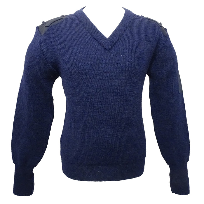 Genuine Navy Blue Nato Jumper V Neck Pullover 100% Pure Wool All Sizes