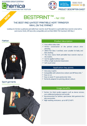 Chemica: Bestprint 1702 White Heat Transfer Vinyl