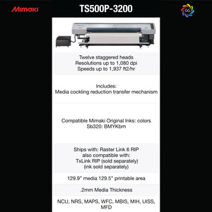 Mimaki TS500P-3200 Dye-Sublimation Specifications
