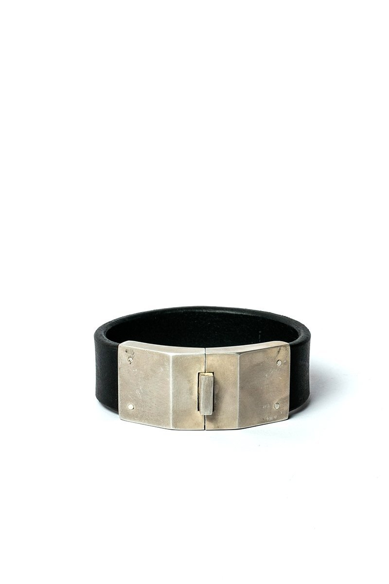 Box Lock Bracelet | Facet | Narrow | BLK+AS