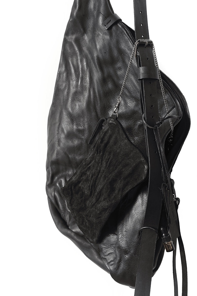 BLACK LEATHER ROOMY BAG