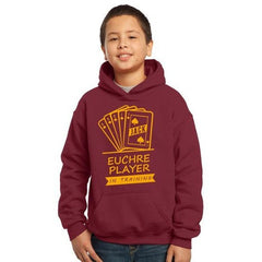 "Youth ""Euchre Player in Training"" Hoodie Maroon"
