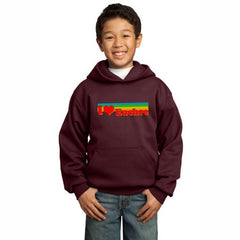 """I Heart Euchre"" Youth Hoodie - Maroon"