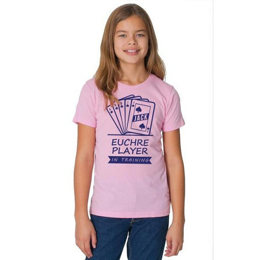 3878463c Euchre Player in Training - Youth T-Shirt Cotton Candy Pink