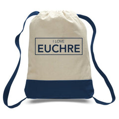 I Love Euchre Canvas Two Tone Drawstring Sports Back Pack - Natural and Blue