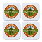 "Brighton Farmer's & Artisan's Market 3.5"" White Coasters Set of 4"
