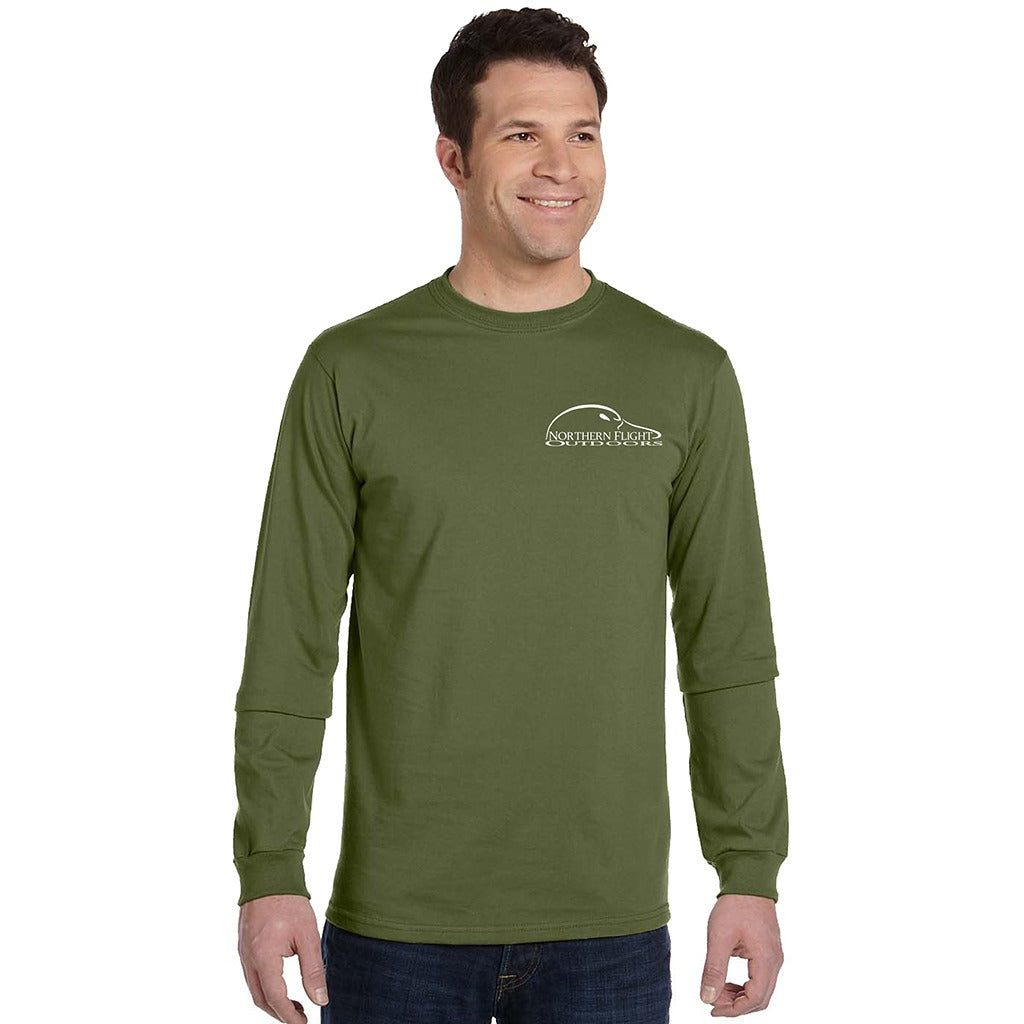 11e94cc9a8af Men's Olive Long Sleeve T-Shirt with Northern Flight Outdoors Logo on Front