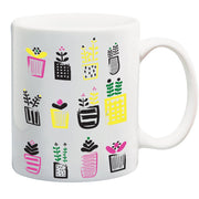 11 oz White Coffee Mug - Potted Plants