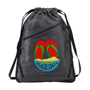 Zip-It Cinch Pack/Draw String Black Bag | Beach Days