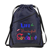Zip-It Cinch Pack/Draw String Black Bag | Sandals