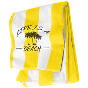 Cabana Stripe Beach Towel Sunflower Yellow and White | Life Is A Beach