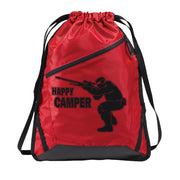 Zip-It Cinch Pack/Draw String Bag Red and Black | Happy Camper
