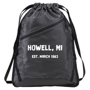 "Charcoal with Black Accents Zip-It Cinch Pack with ""Howell MI Est March 1863"" in White Text"