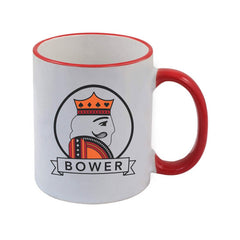 "White Euchre Coffee Mug with Red Rim and Handle ""Bower"" Design - 11 oz"