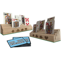 Wooden Playing Card Holders - Set of 2 (Cards not included)