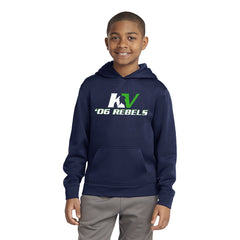 Youth Performance Wear Hooded Navy Fleece Pullover - Front